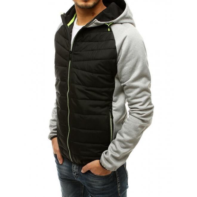 Pánská prošívaná bunda na přechodné období v světle šedé barvě