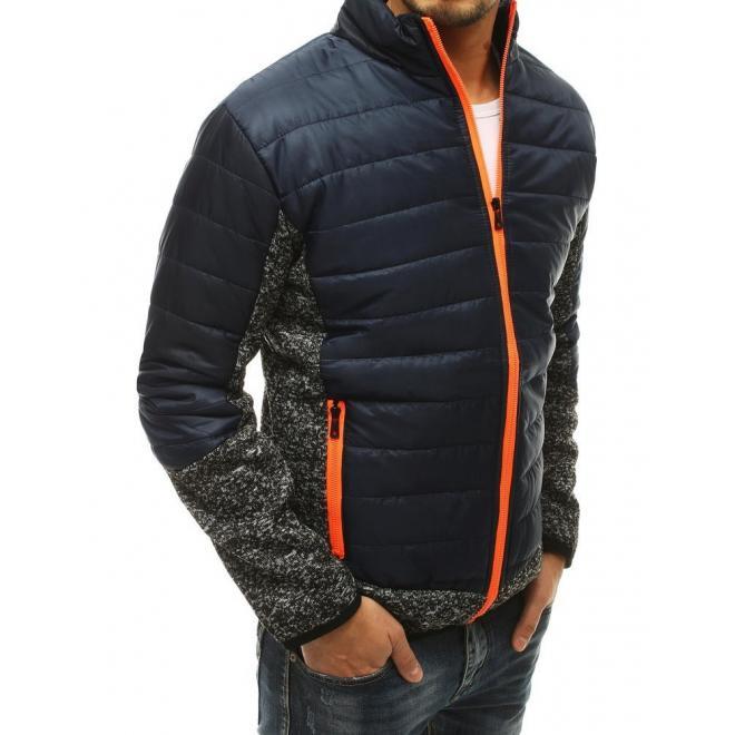 Přechodná pánská bunda tmavě modré barvy s prošíváním