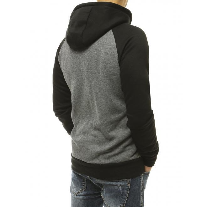 Pánská sportovní mikina s potiskem v světle šedé barvě