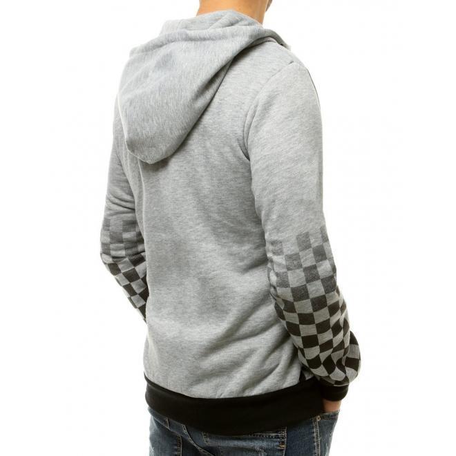 Módní pánská mikina světle šedé barvy s kostkovaným vzorem