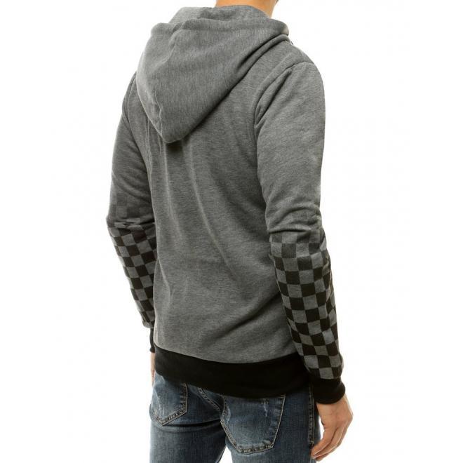 Tmavě šedá módní mikina s kostkovaným vzorem pro pány