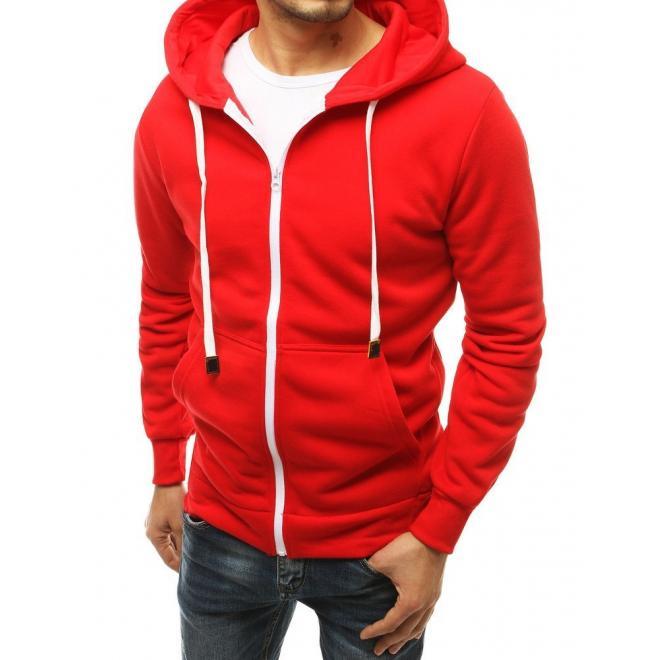 Pánská klasická mikina na zip v červené barvě