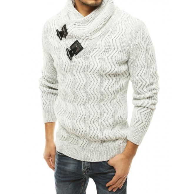 Pánský hrubý svetr s vysokým límcem v bílé barvě