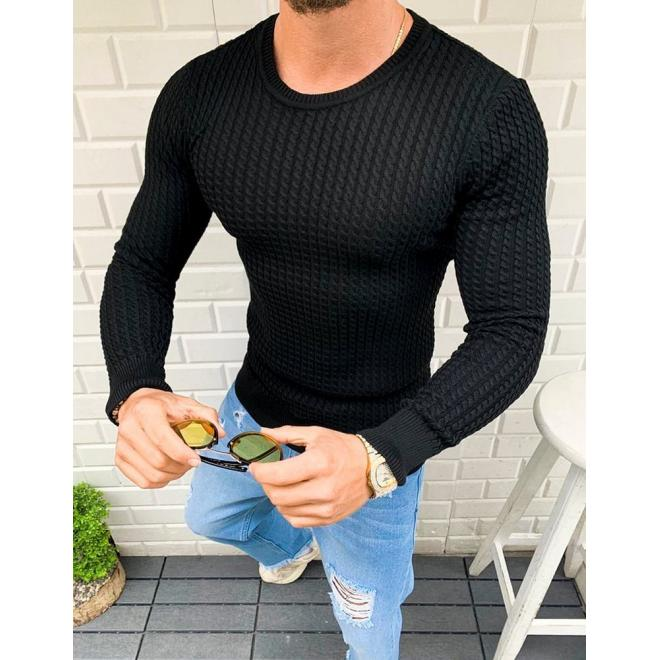 Vzorovaný pánský svetr černé barvy s kulatým výstřihem
