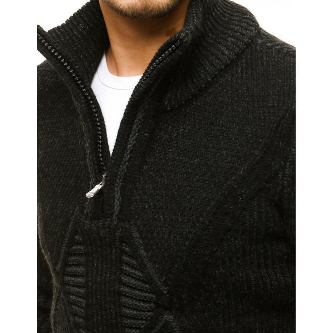 Vlněný pánský svetr černé barvy se zapínaným límcem