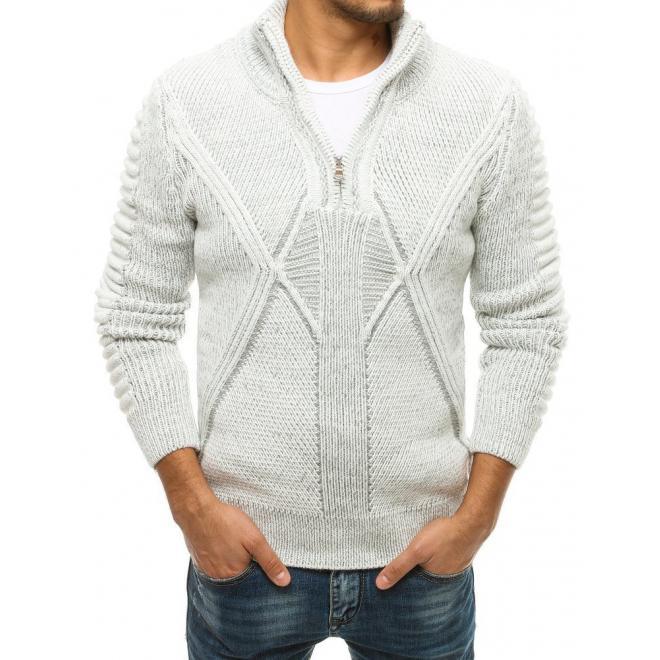Bílý vlněný svetr se zapínaným límcem pro pány