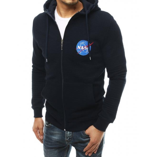 Tmavě modrá módní mikina s nášivkou NASA pro pány