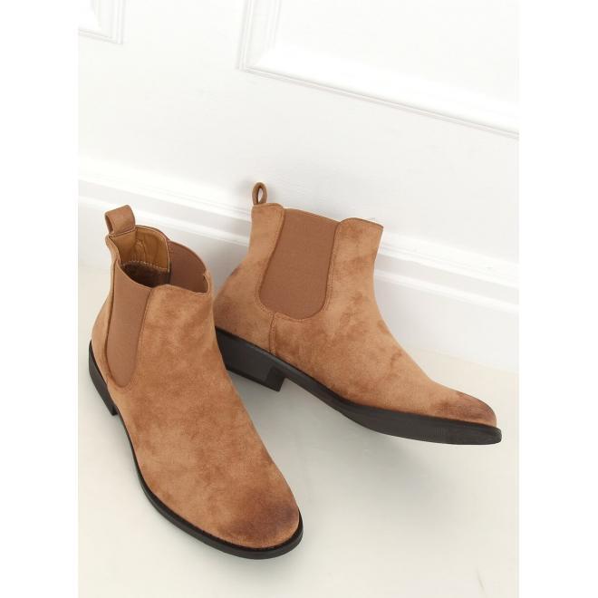 Béžové semišové boty s elastickými vložkami pro dámy