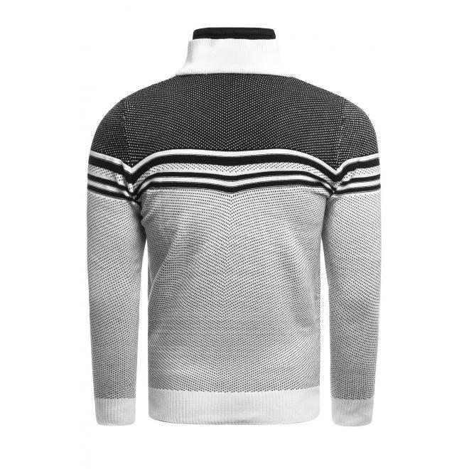 Pánský vzorovaný svetr se zapínaným límcem v bílé barvě
