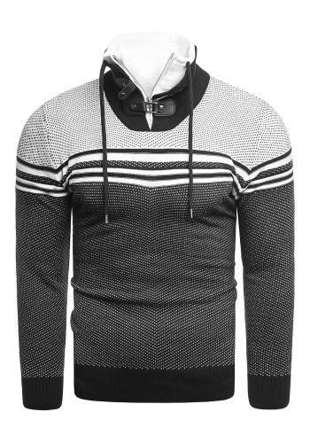 Vzorovaný pánský svetr černé barvy se zapínaným límcem