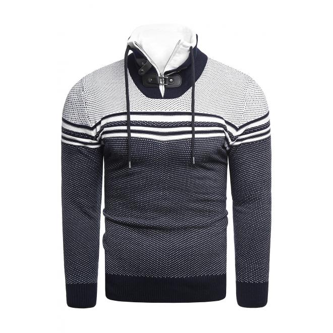 Tmavě modrý vzorovaný svetr se zapínaným límcem pro pány
