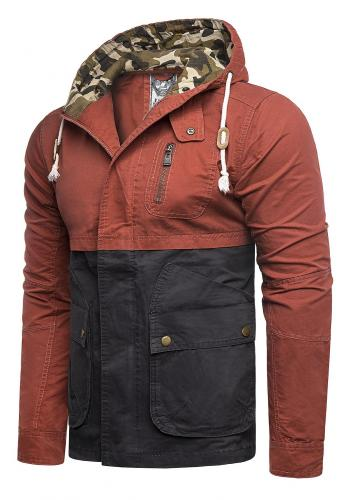 Pánská přechodná bunda s kapucí v oranžovo-modré barvě