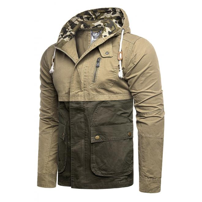 Přechodná pánská bunda béžovo-zelené barvy s kapucí