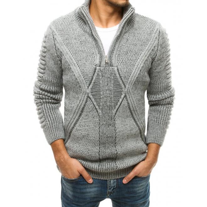 Pánský vlněný svetr se zapínaným límcem v šedé barvě