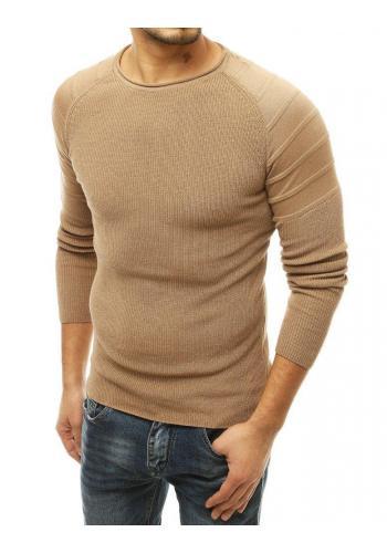 Béžový módní svetr s kulatým výstřihem pro pány