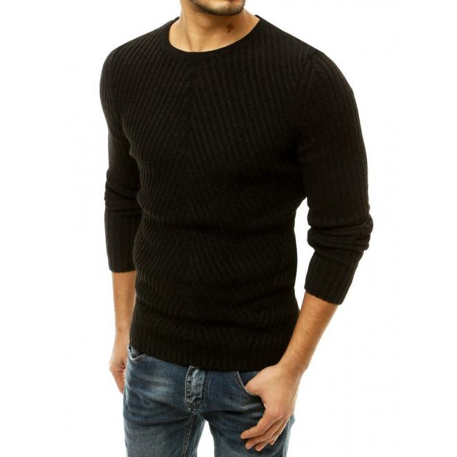 Černý klasický svetr s kulatým výstřihem pro pány