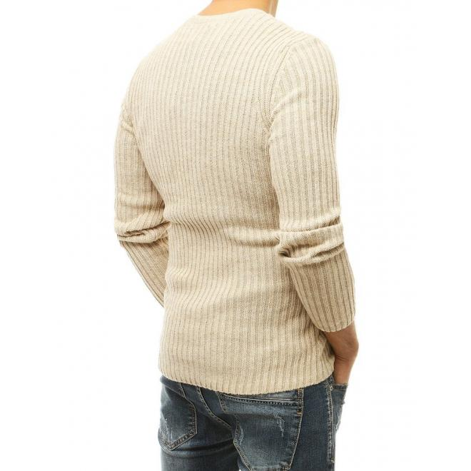 Pánský klasický svetr s kulatým výstřihem v béžové barvě