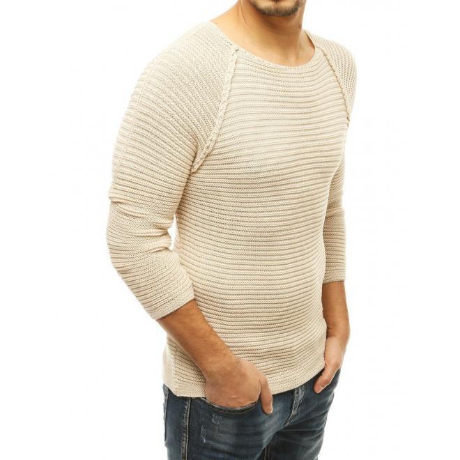 Stylový pánský svetr béžové barvy s kulatým výstřihem