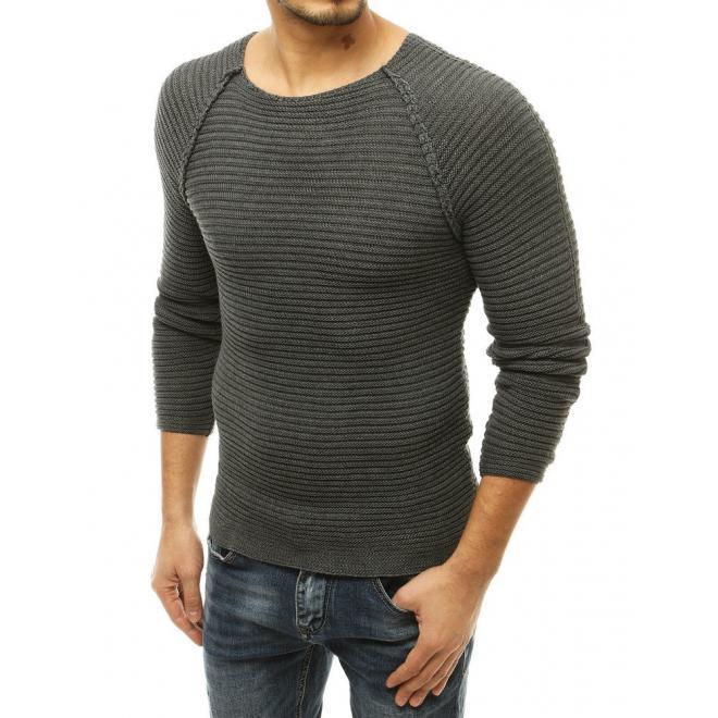 Tmavě šedý stylový svetr s kulatým výstřihem pro pány