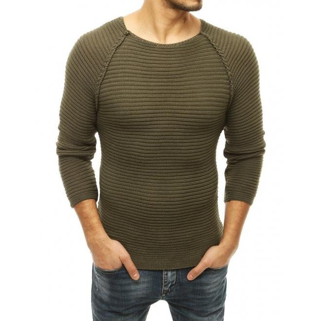 Pánský stylový svetr s kulatým výstřihem v kaki barvě