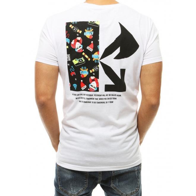 Sváteční pánské tričko bílé barvy s potiskem