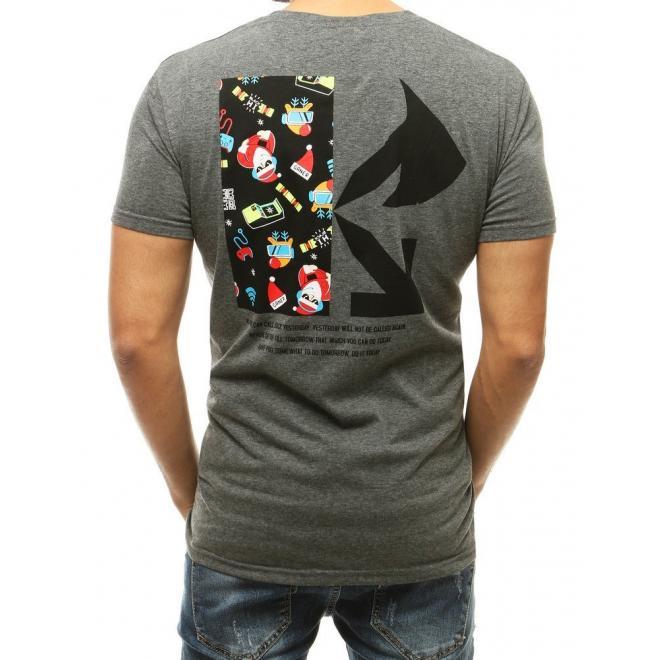 Tmavě šedé sváteční tričko s potiskem pro pány