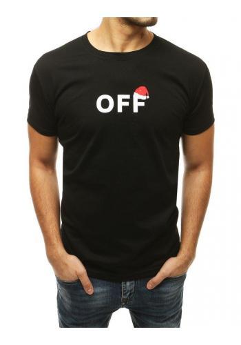 Pánské sváteční tričko s potiskem v černé barvě