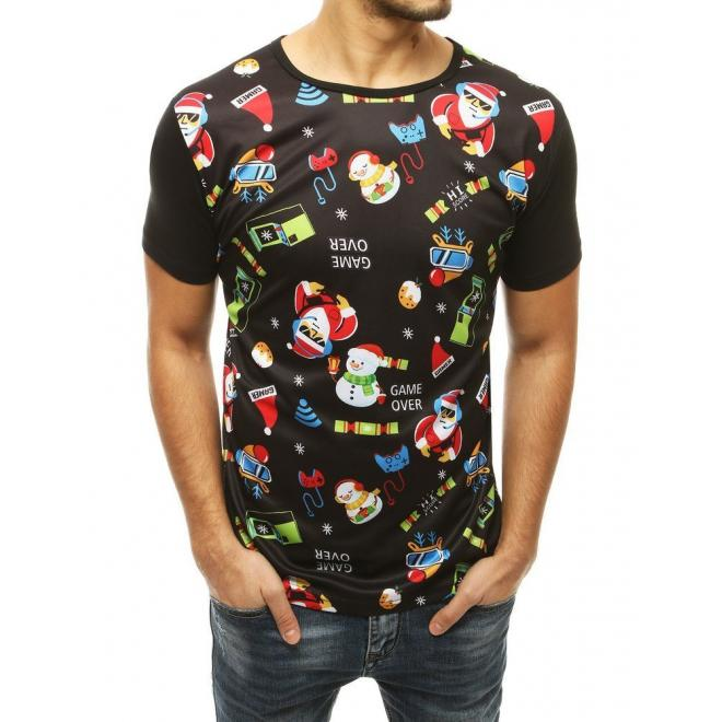 Módní pánské tričko černé barvy se svátečním potiskem