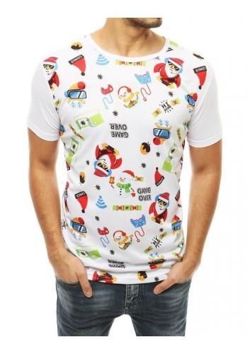 Bílé módní tričko se svátečním potiskem pro pány