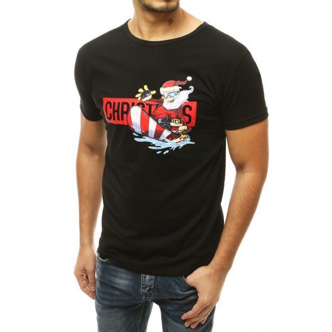 Pánské stylové tričko s vánočním motivem v černé barvě