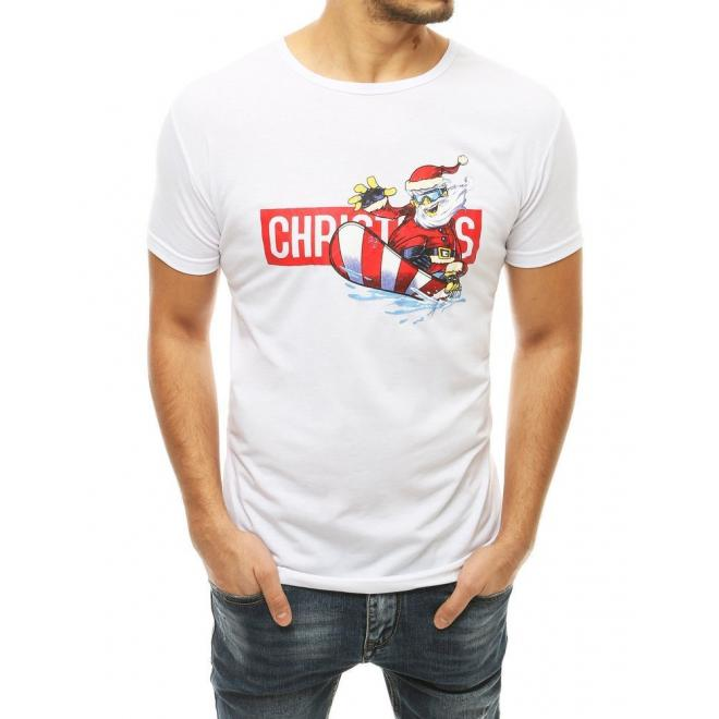 Stylové pánské tričko bílé barvy s vánočním motivem