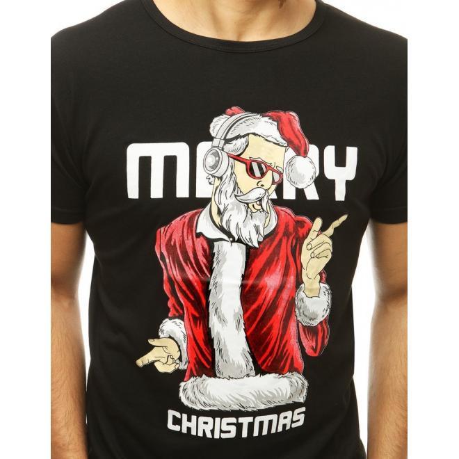 Černé vánoční tričko s krátkým rukávem pro pány