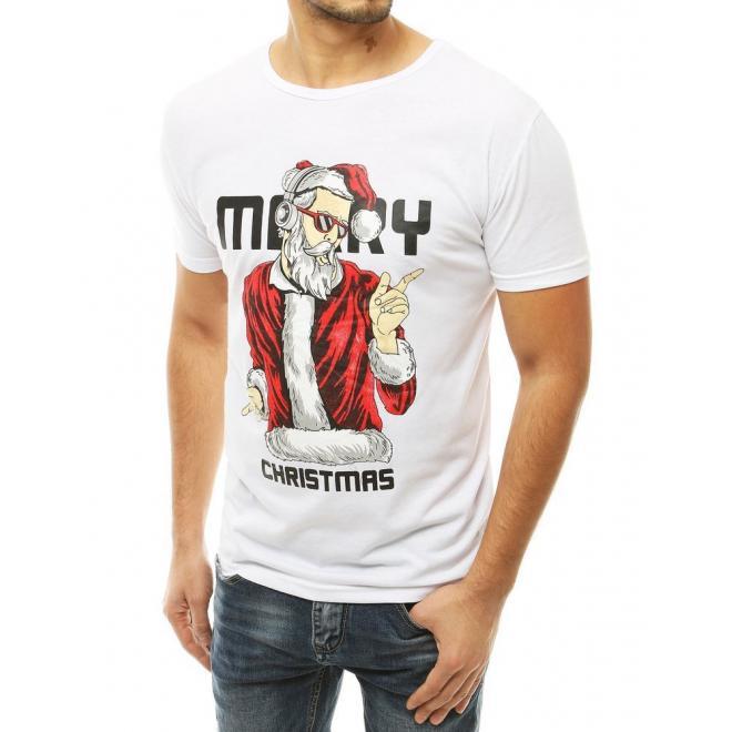 Pánské vánoční trička s krátkým rukávem v bílé barvě