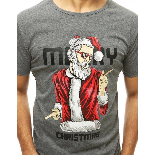 Vánoční pánské tričko tmavě šedé barvy s krátkým rukávem