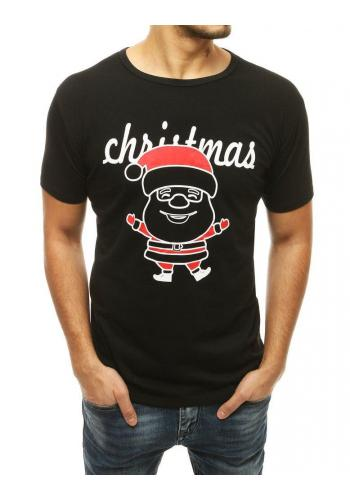 Černé klasické tričko s vánočním motivem pro pány