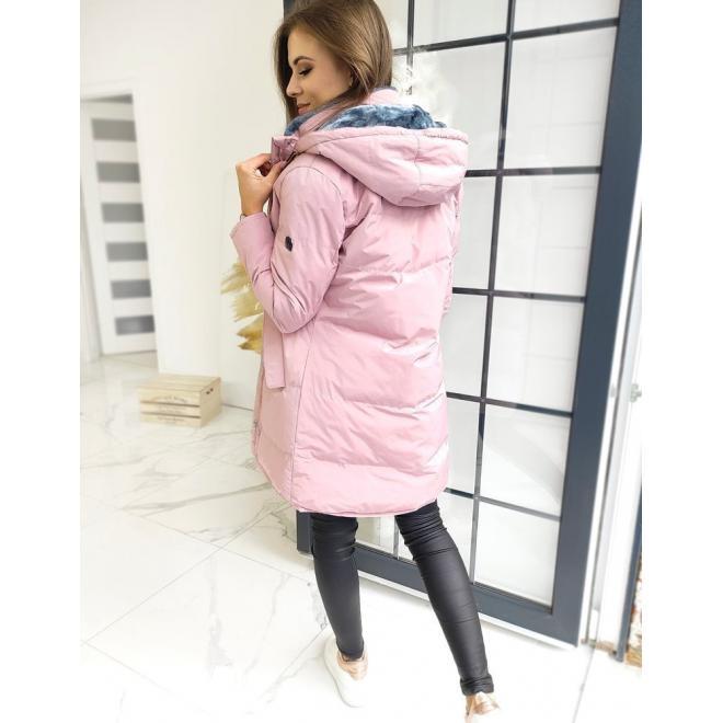 Růžová prošívaná bunda s odepínací kapucí pro dámy