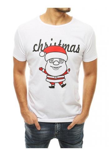 Pánské klasické trička s vánočním motivem v bílé barvě