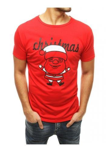 Klasické pánské tričko červené barvy s vánočním motivem