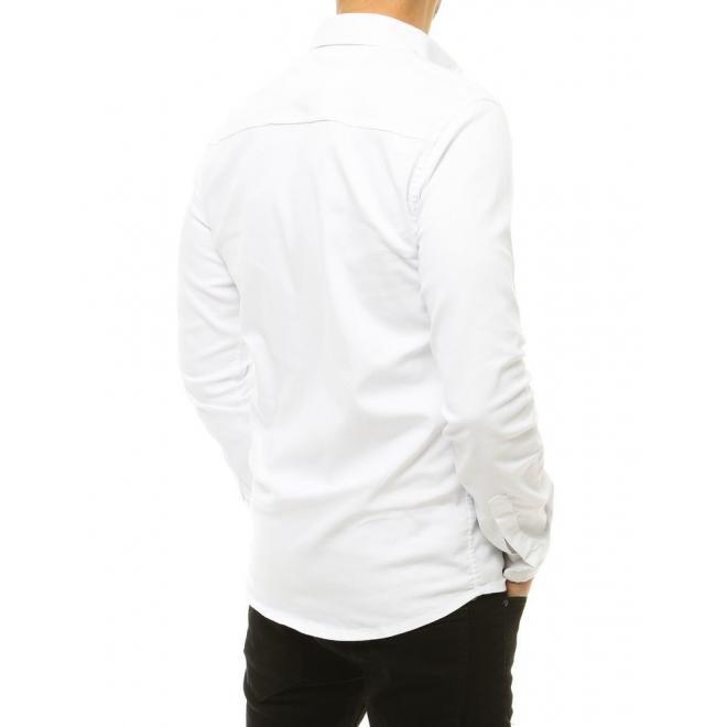 Riflová pánská košile bílé barvy s dlouhým rukávem