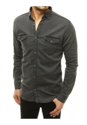 Pánská riflová košile s dlouhým rukávem v tmavě šedé barvě