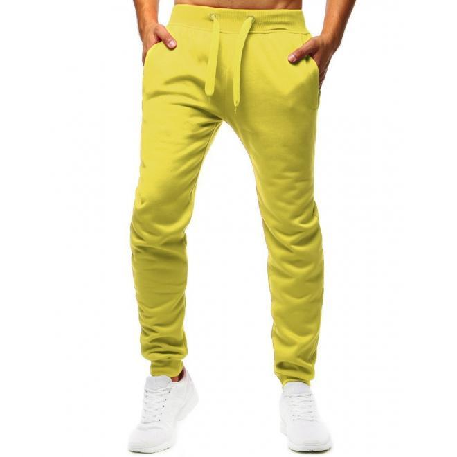 Klasické pánské tepláky žluté barvy