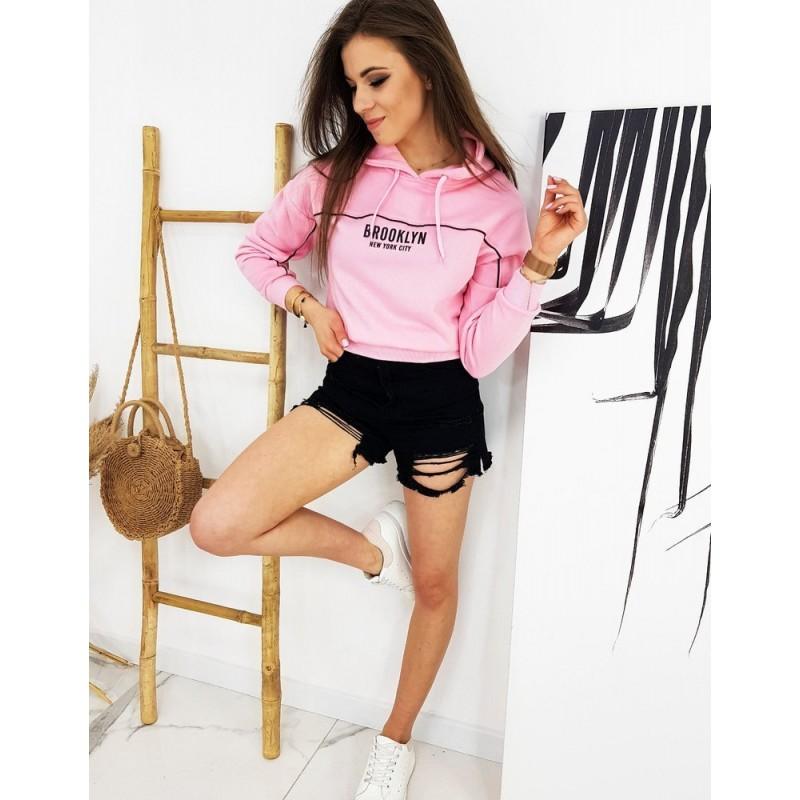 Růžová kratší mikina s potiskem pro dámy