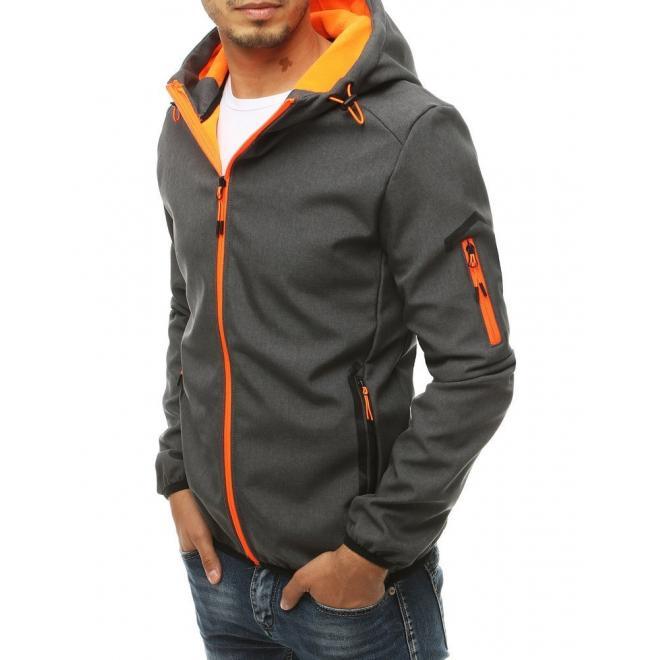 Pánská softshellová bunda s kapucí v tmavě šedé barvě