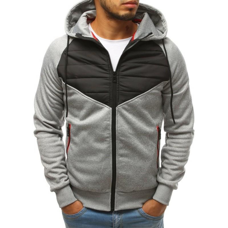 Světle šedá podzimní bunda s kapucí pro pány