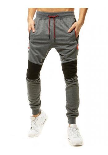 Pánské módní tepláky s vložkami v tmavě šedé barvě