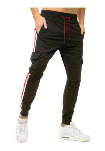 Pánské stylové tepláky s pásy na bocích v černé barvě