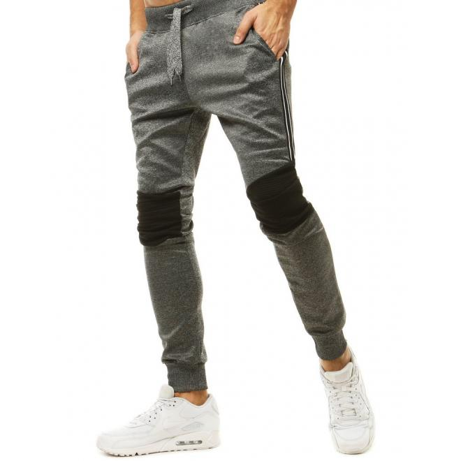Tmavě šedé módní tepláky s kontrastními vložkami pro pány