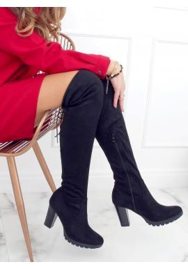 Dámské semišové kozačky nad kolena na podpatku v černé barvě