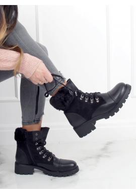 Černé módní kozačky s ozdobnou kožešinou pro dámy