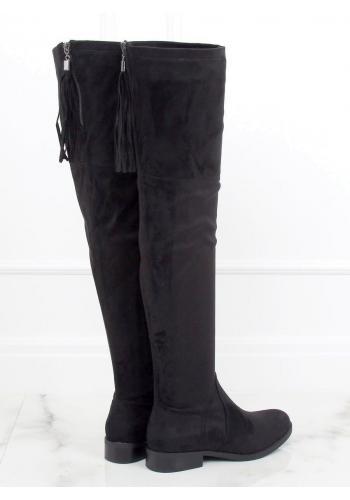 Černé semišové kozačky nad kolena s třásněmi pro dámy